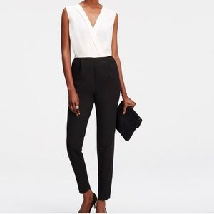 Ann Taylor Black and White V- Neck Jumpsuit
